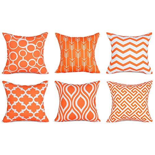 Top finel federe cuscini in cottone lino guadrati decorativi in divano letto sedia un serie include 6 pezzi 45 x 45cm arancione