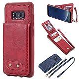 Samsung S8 Galaxy S8 Hülle, BONROY 2in1 Doppelschutz Handyhülle mit RFID Schutz, Kartenfach für Bankarte und Geldschein, Geldbeutel-Style mit Magnetverschluss Standfunktion Case Schutzhülle Tasche Book Klapp für Samsung Galaxy S8 - (Mode Anti-Drop - rot)