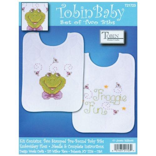 Tobin Frog Family Bib Pair Stamped Cross Stitch Kit, 8 by 10-Inch, Set of 2 by Tobin