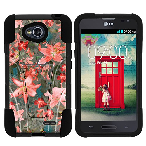 LG Optimus L70 Schutzhülle | LG Ultimate 2 Fall | LG Optimus Exceed 2 [Gel Max Cover] Dual Layer Hybrid Case Design Hard Shell Ständer von turtlearmor -, Captivating Pink Floral (Lg L70 T-mobile Optimus Handy)