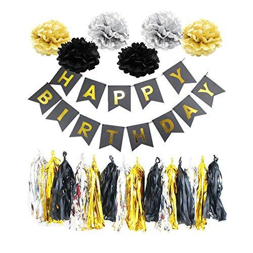 Poseca Tissue Partydekorationen Kit Happy Birthday Banner Seidenpapier Pom Poms Blumen Hängen Swirl Partei Liefert 22 Stücke -
