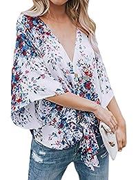 Blusa para Mujer Vendaje,Blusa de Moda para Mujer Blusa con Estampado de