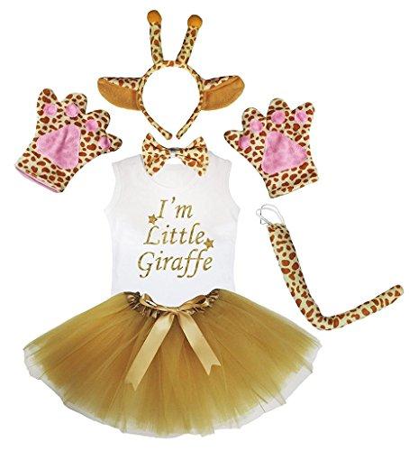 Petitebelle Stirnband Bowtie Schwanz Handschuhe Hemd Rock 6pc Mädchen-Kostüm 6-8 Yr Giraffe