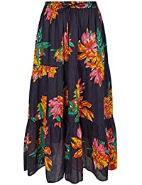 66e925fc7a Yours Clothing Women's Plus Size Floral Print Tiered Maxi Skirt