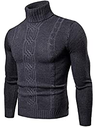 Jersey De Punto con Cuello Alto para Hombre Color Sólido Manga Larga Espesar Suéter