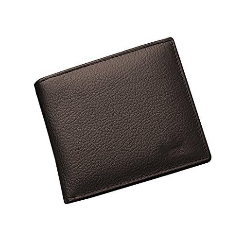 Rosa Schleife® Männer Geschenk Geldbörse Herren Leder Braun vintage Ausweis Geld Klammer Coffee Geldbeutel Bifold Brieftasche c - Braun