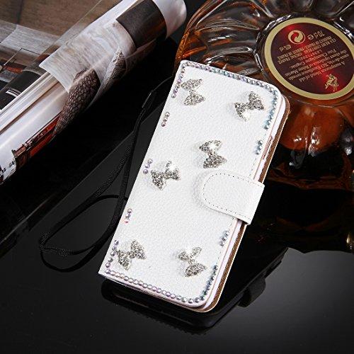 Hülle für iPhone 7 plus , Schutzhülle Für iPhone 7 Plus, Diamond verkrustet drei Schmetterlinge Pattern Horizontale Flip Leder Tasche mit magnetischen Wölbung & Card Slots & Handschlaufe ,hülle für iP Ip7p4910f