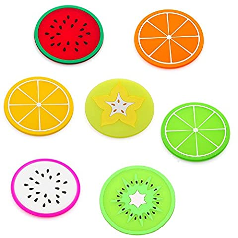 Meetory 7 Pcs Colorful Fruit Silicone Cup Mat - Drinks Tea Cup Pad,Bowl Holder Tableware Placemat