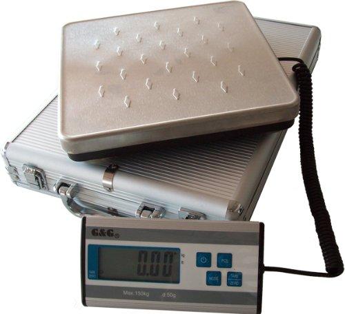 G&G 150kg/50g HCG-1 Plattformwaage Paketwaage inkl. Aluminium-Koffer/Batteriebetrieb