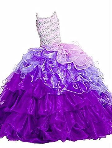 Huaibin Girls'Sparkle Beaded Prom Pleat Tulle Pageant Dresses 10 Purple