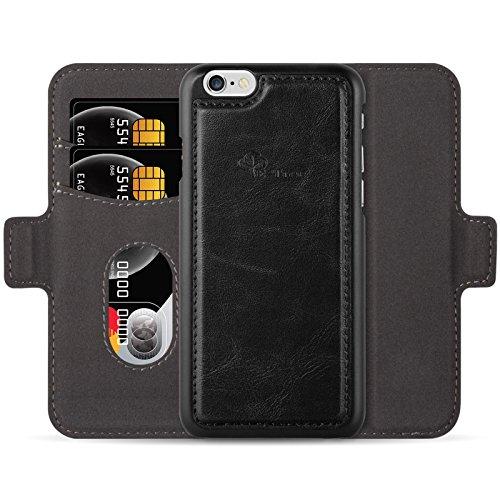 E-Tree iPhone 7 PLUS Hülle,iPhone 8 PLUS Hülle , RFID Schutz, Hochwertiges Kunstleder, Standfunktion und Kreditkartenfächer, Schutzhülle Tasche für Apple iPhone 7 PLUS / 8 PLUS Case Cover, Schwarz Schwarz