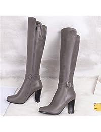Sandalette-DEDE Stivali da donna, stivali alti, tacchi alti e stivali bassi a tubo, Grigio, Quarantaquattro