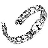 Sagenhaftes Edelstahl Herren Glieder Armband Silber Schwarz 23cm (Mit Marken Geschenkschachtel) - 2