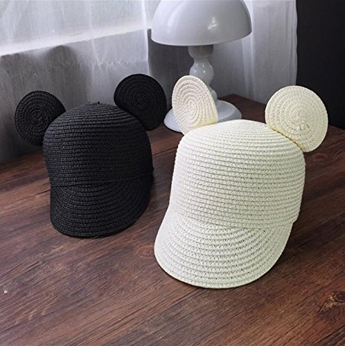 SHINA Femmes fille anti - uv design mignon et chapeau de paille à large bord hat mode tissés à la main la plage soleil pac kid-Blanc-Lait