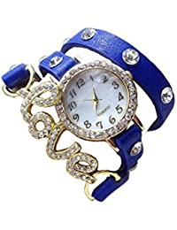 Divine Blue Watch With Beautiful Dial With Diamond With Attractive Love Blue Dori Looks Like Bracelet Casual Wear...