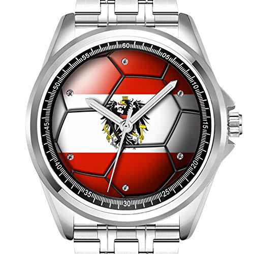 Personalisierte Herrenuhr Mode wasserdicht Uhr Armbanduhr Diamant 141.?sterreich Fu?Ball