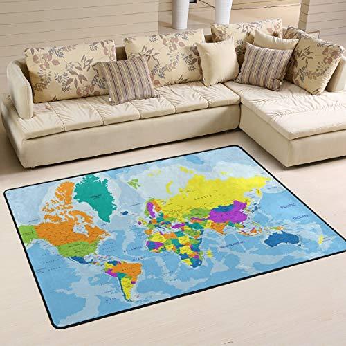 DEZIRO Bunte Weltkarte Polyester lustige Fußmatte Bereich Teppich Eingang Weg Fußmatten Home Dec Schuhe Schaber, rutschfest waschbar, Polyester, 1, 36 x 24 inch -