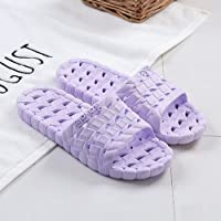 fankou Indoor Slippers Summer Home Shoes Non-Slip Soft Bottom Men's Striped Cold Baths There and Couples Slippers Female,39-40, Purple Exposed Purple