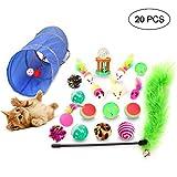 FOONEE 20PCS gattino gatto giocattoli giocattoli variety Pack incluso gatto giocattolo mouse, Crinkle palle, pieghevole gatto tunnel, canna da pesca per gatto, Puppy, Kitty 20pcs
