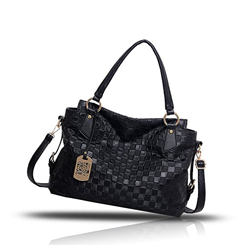 Sunas Il nuovo reticolo di svago di svago del sacchetto di spalla della borsa delle donne di modo ha ritoccato il raccoglitore superiore del sacchetto del messaggero della spalla nero