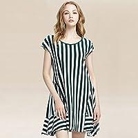 Pyjamas Frauen Sommer Kurzarm-Nachthemd Vertikal Gestreift Lose Dünne Mode Sexy Rock Home Dress Dress GAOLILI