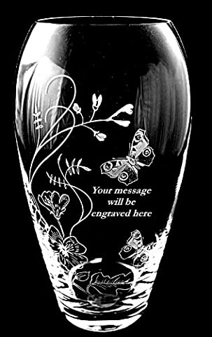 Barrel Vase with Butterfly & Freesia design (DB2) with Personalised message