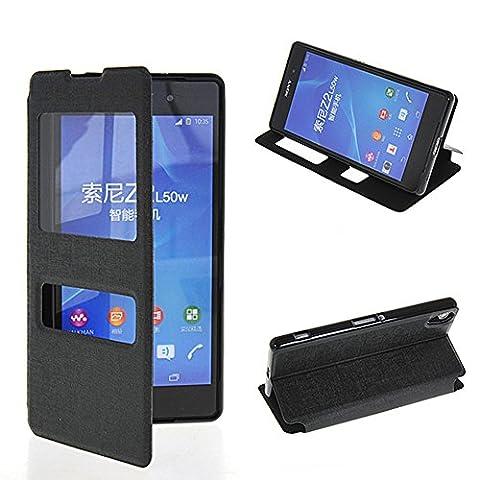 Xperia Z2 Coque,COOLKE [Noir] View Window Flip Cover Coque Etui Housse de Protection ?tui ¨¤ rabat Case Pour Sony Xperia
