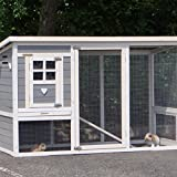 Animalhouseshop.de Kaninchenstall Julia weiß-Grau 169x75x104cm