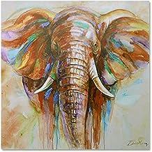 Raybre Art® 60 x 60cm Impresión sobre Lienzo Cuadro Cartoon Animals Elefante Colores Abstractos Modernos Pintura al óleo para Arte Pared Decoración Hogar Dormitorio Infantiles, sin marco u bastidor