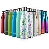 CMXING Bottiglia Termica, 500ml/ 750ml Doppia Parete Borraccia Acciaio Inox, Non Tossico BPA Gratuito Sport Borracce Bottiglia Acqua (Cactus, 500ml)