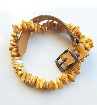 Amber Neck Collier d'ambre de la Baltique et cuir naturel beige pour chien Protection naturelle contre les puces et les tiques Fabriqué à la main -
