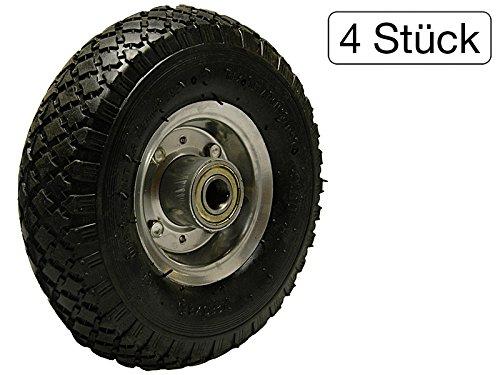 4er Satz Räder für Schubkarren Reifen Komplett Rad 3.00-4 luftbereift auf Stahlfelge - Von 4 Rad-satz