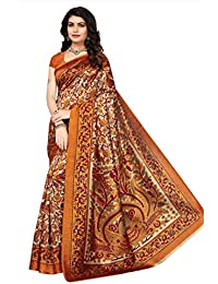 Indian Fashionista Women's Kalamkari Mysore Silk Saree with Blouse Piece (Printed Saree) (NMk-17_Free Size_Mustered)