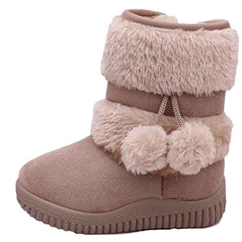 Baby Junge Mädchen Winter Schnee Stiefel mingfa Süßes Baumwolle Ball anti-rutsch Kinder Erste Walking Schuhe für 1-3Jahren Age:12-18M khaki (7 Kleinkind-schnee-stiefel)