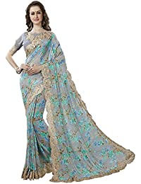 Vipul Grey Georgette Printed And Lace Border Saree With Blouse Piece