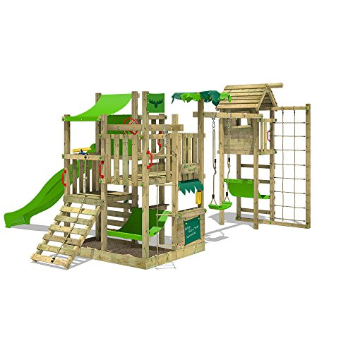 FATMOOSE Spielturm BananaBeach Big XXL Kinder-Spielplatz mit Turmanbau inkl. Holzdach Schaukel Rutsche Sandkasten Hängematte Kletternetz und unbegrenzten Spielmöglichkeiten