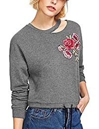 a52d77736a06b LUBITY Sweatshirt Femme Sexy Pendaison Cou Chic Rose Broderie Impression  Col Rond Manches Longues Pull Couleur