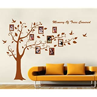 Huge Black/Brown Family Photo Frame Tree Branch & Leaves wall decal sticker (Brown)