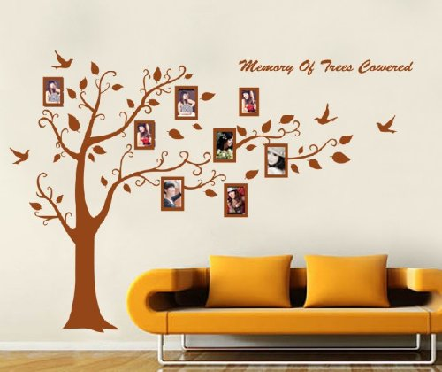 Huge Black/Brown Family Photo Frame Tree Branch & Leaves wall decal sticker (Brown) by WallStickersDecal - Family Tree Parete