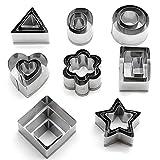 KAISHAN - Cortadores de galletas de acero inoxidable (forma de flor, corazón, estrella, redondo, cuadrado, rectangular, triángulo y ovalado), 24unidades