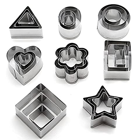 Cookie Cutters Stainless Steel ( Heart Flower Star Round Square Rectangle Triangle Oval Shapes ) Set of 24 by