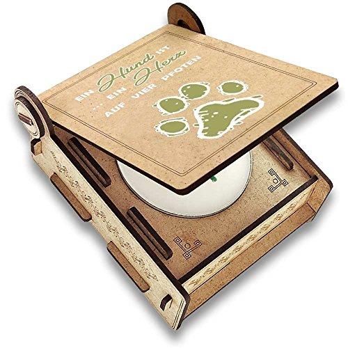 CANDLE in the BOX Trauerkerze Hund mit Spruch | Personalisierte Gedenkkerze mit Foto und mit Namen | Gedenklicht Hund für Zuhause mit Gravur (Spruch Herz)