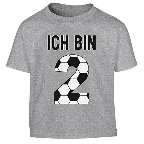 (2 Geburtstag Fußball Geschenk - Geschenke für 2 jährige Kinder T-Shirt I Gr. 86-116 96/104 (3-4J) Grau)