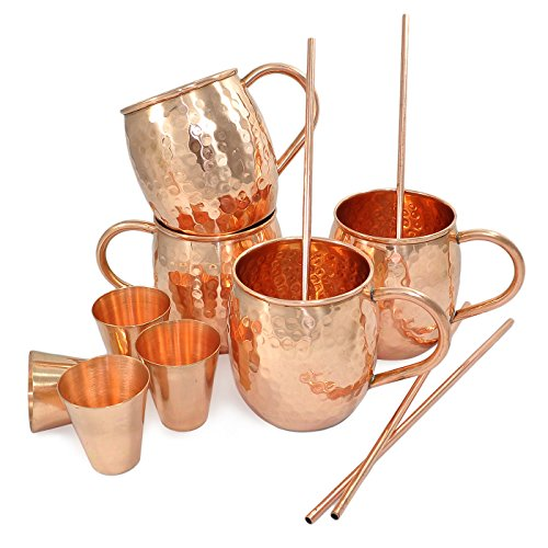 Set di 4, Dungri India Solid Copper Barrel Tazza Tazza