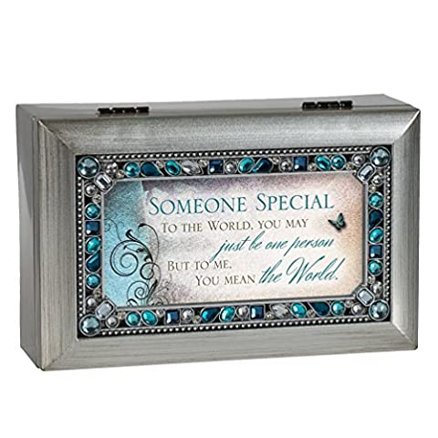 Someone Special Jeweled Silver Finish Jewelry Music Box - Plays Tune Wind Beneath My Wings by Cottage Garden
