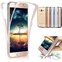 SainCat Funda Galaxy J5 2015 (J500), Anti-Golpes 360 Grados Silicona Case TPU del Ultra Delgada Clara Funda Transparente Funda para Samsung Galaxy J5 2015-Oro Rosa