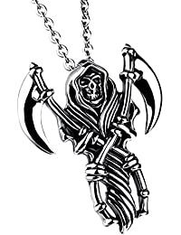 "JewelryWe Stainless Steel Casted Grim Reaper Gothic Skull Biker Mens Pendant Necklace 22"" Chain, Halloween Gift"