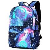 HCFKJ Tasche, Galaxy Schultasche Rucksack Sammlung Leinwand USB Ladegerät für Teen Girls Kids (BU)