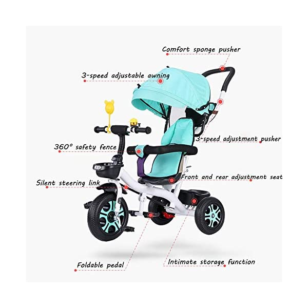 3 In 1 Childrens Tricycles 12 Months To 5 Years Stable Seat Can Be Adjusted Back Kids Tricycle Heigh Adjustable Handlebar Folding Sun Canopy Child Trike Maximum Weight 25 Kg,Gray BGHKFF ★{Material}: High carbon steel frame + environmentally friendly plastic, suitable for children from 1 to 5 years old, maximum weight 25 kg ★{3 in 1 multi-function}: Convertible to stroller and tricycle. Remove the hand putter and awning as a tricycle. ★{Safety Design}: Gold triangle structure, not easy to turn side down, skin-friendly safety Oxford cloth fabric, 360° safety fence, 3 adjustable awnings, effectively block UV rays, rear wheel double brakes, lock rear wheel 9
