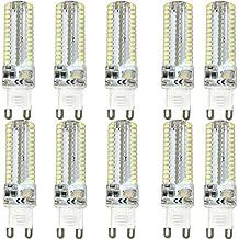 KINGSO - Repuesto para bombilla halógena (10 unidades, G9, 7 W, LED, luz blanca fría, no regulable, 60 W para bombilla halógena, gel de sílice, 104 SMD, 3014, 6000 K, 520 lm, ahorro de energía, CA 220-240 V, ultrabrillante)